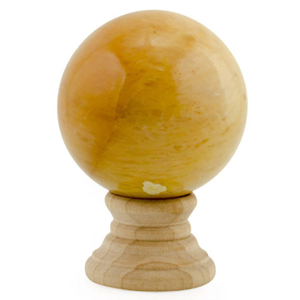 Yellow Polished Marble Collectible Stone Sphere | BestPysanky