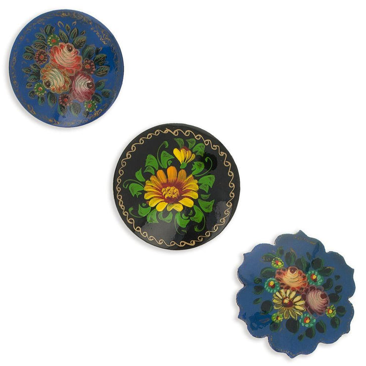 Set of 3 Wooden Black and Blue Hand Painted Round Flower Brooches 2 Inches by BestPysanky