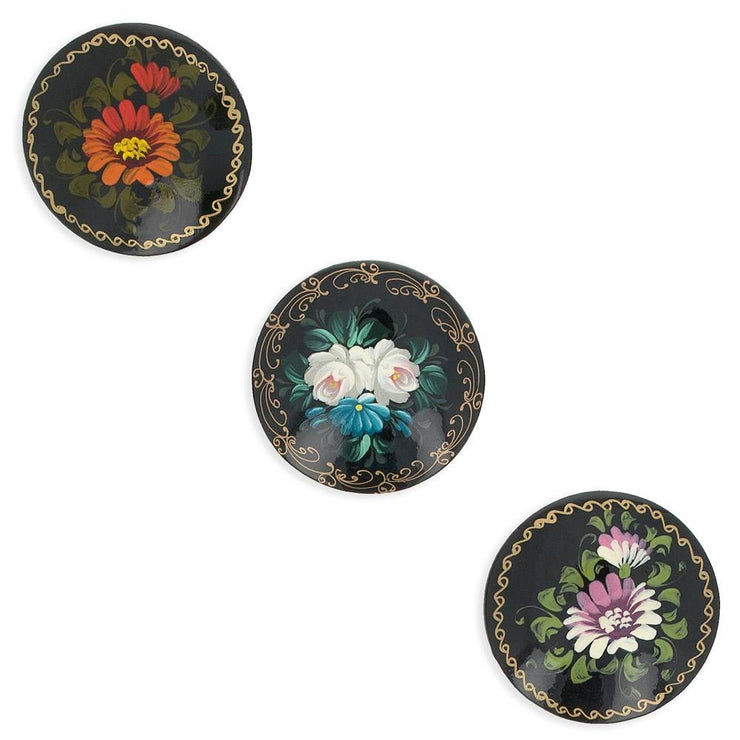 Set of 3 Wooden Black Hand Painted Flower Round Brooches 2 Inches by BestPysanky