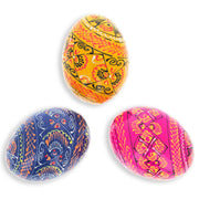 Set of 3 Vermicular Colorful Wooden Ukrainian Pysanky Easter Eggs by BestPysanky