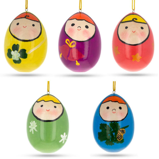 Set of 5 Wooden Egg Shaped Matryoshka Nesting Doll Ornaments by BestPysanky