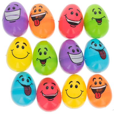 Set of 12 Smiling Faces Plastic Eggs 2.25 Inches by BestPysanky