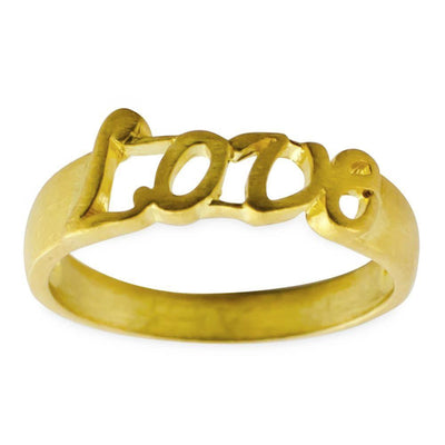 Love 14 Karat Gold Plated Love Sterling Silver Ring (Size 7) by BestPysanky