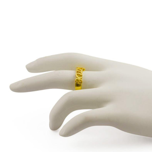Love 14 Karat Gold Plated Love Sterling Silver Ring (Size 7)