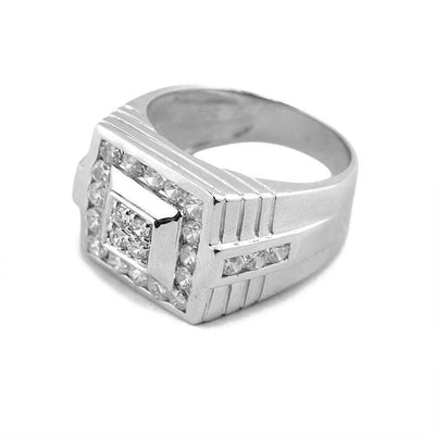 CZ Rhodium Plated Sterling Silver Men's Ring Size (10) by BestPysanky