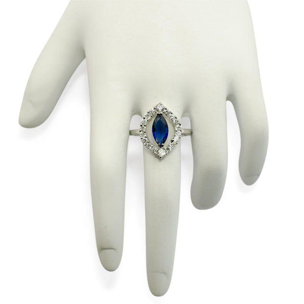 Buy Online Gift Shop Blue Rhodium CZ Sterling Silver Ring (Size 8)