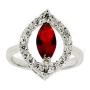 Red Rhodium CZ Sterling Silver Ring (Size 7) by BestPysanky