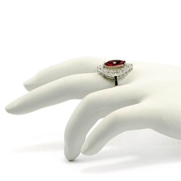 Red Rhodium CZ Sterling Silver Ring (Size 7)