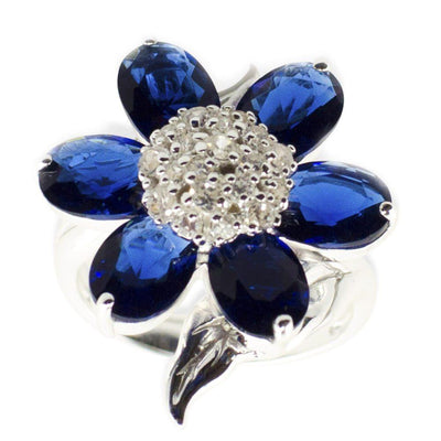 Midnight Blue Flower Sterling Silver Ring (Size 7) by BestPysanky