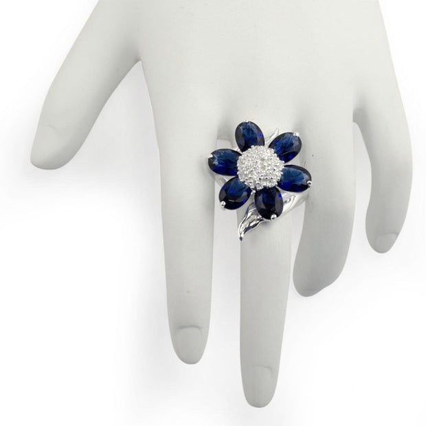 Midnight Blue Flower Sterling Silver Ring (Size 7)
