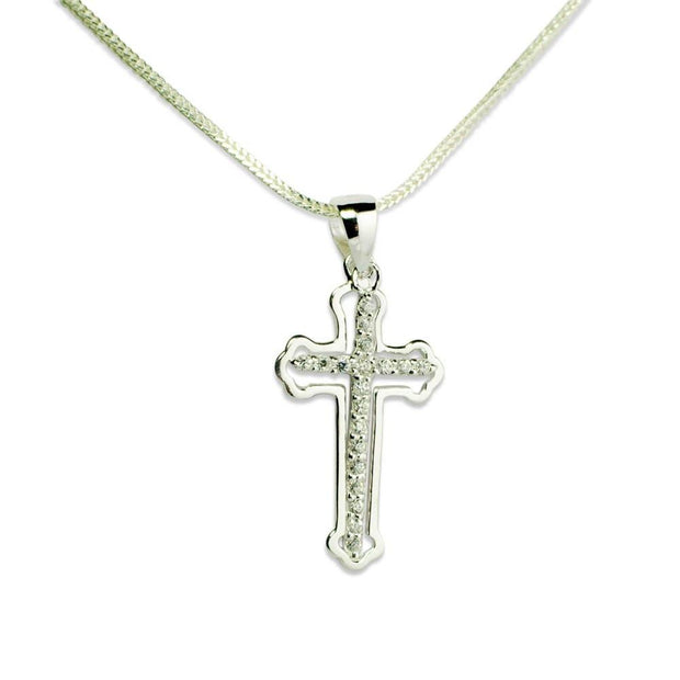 Cross Cut Out CZ Sterling Silver Pendant