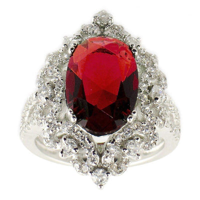Red Oval CZ Rhodium Sterling Silver Ring (Size 7) by BestPysanky