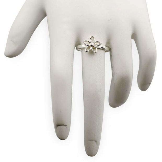 Buy Online Gift Shop Flower Sterling Silver Ring (Size 7)