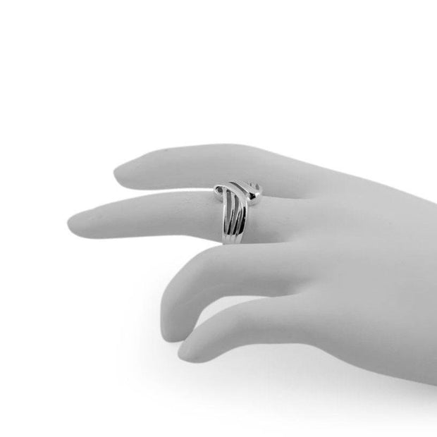 Modern Wavy Sterling Silver Ring (Size 7)