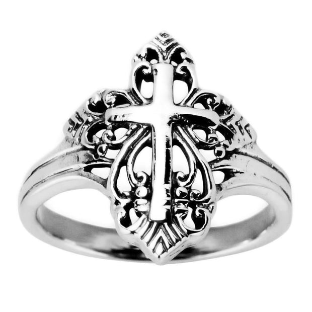 Religious Cross Sterling Silver Men's Ring (Size 10) by BestPysanky