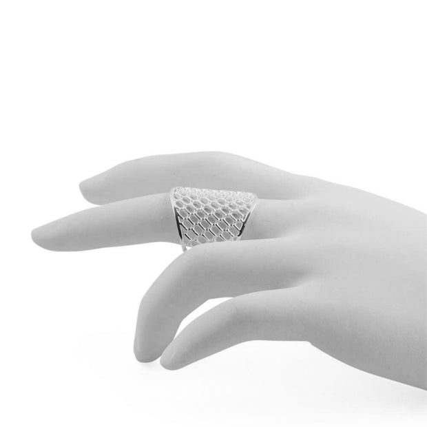 The Net Sterling Silver Ring (Size 6)