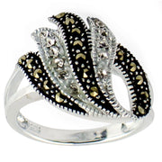 Crystal Glass Marcasite Sterling Silver Ring (Size 6) | BestPysanky