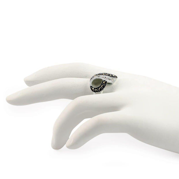 Buy Online Gift Shop Crystal Glass Marcasite Sterling Silver Ring (Size 6)