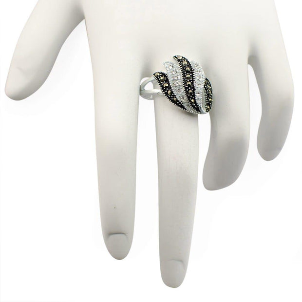 Crystal Glass Marcasite Sterling Silver Ring (Size 6)