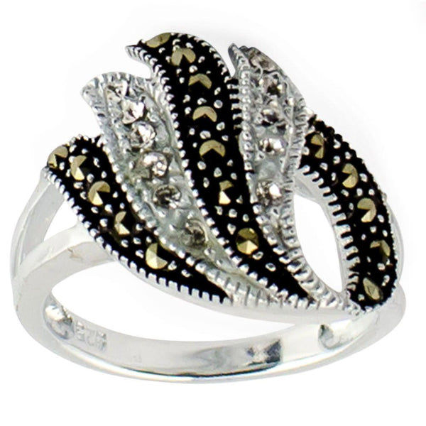 Crystal Glass Marcasite Sterling Silver Ring (Size 7) | BestPysanky