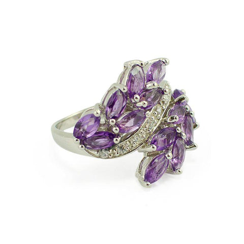 Marquise Cut Amethyst Sterling Silver Ring (Size 7) | BestPysanky