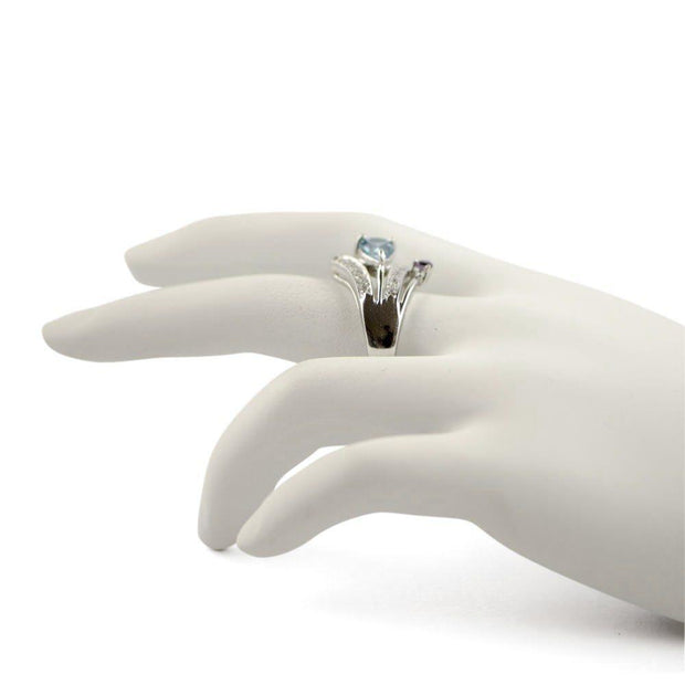 Light Blue CZ Sterling Silver Ring (Size 6)
