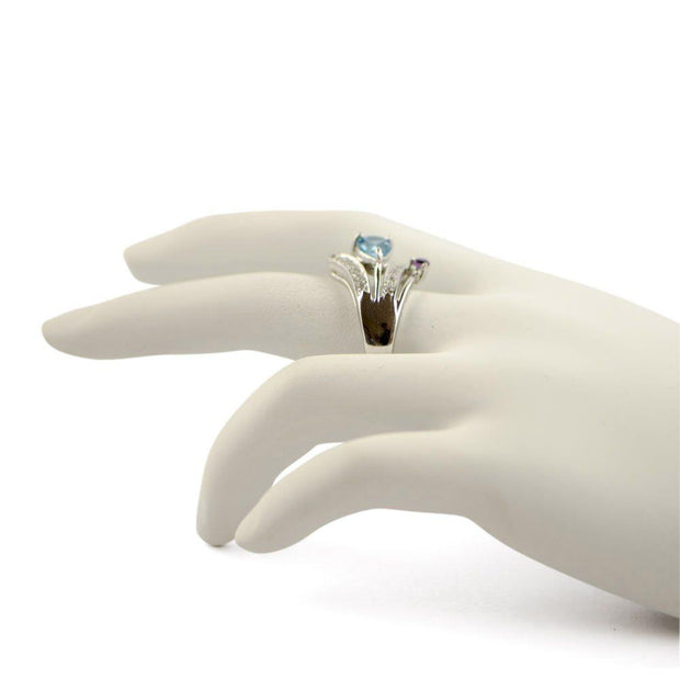 Light Blue CZ Sterling Silver Ring (Size 8)