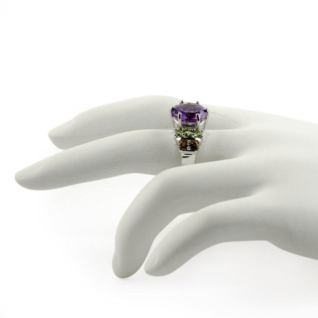 Amethyst Citrine Peridot Sterling Silver Ring (Size 6)
