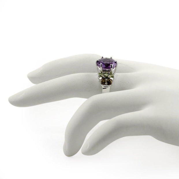 Buy Online Gift Shop Amethyst Citrine Peridot Sterling Silver Ring (Size 7)