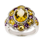 Amethyst Citrine Sterling Silver Ring (Size 6) by BestPysanky