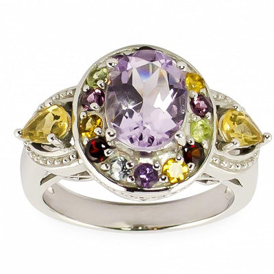 Amethyst Rhodolite White Topaz and ect. Gemstones Sterling Silver Ring (Size 6) by BestPysanky