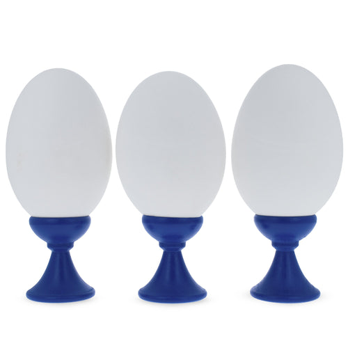 Set of 3 Blue Wooden Egg Stands Holders Displays 1.4 Inches