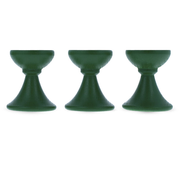 Set of 3 Green Wooden Egg Stands Holders Displays 1.4 Inches by BestPysanky