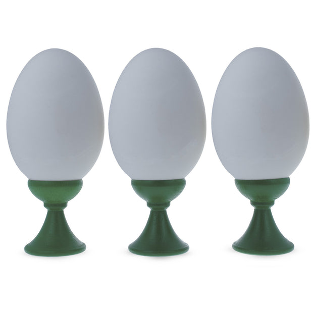 Set of 3 Green Wooden Egg Stands Holders Displays 1.4 Inches