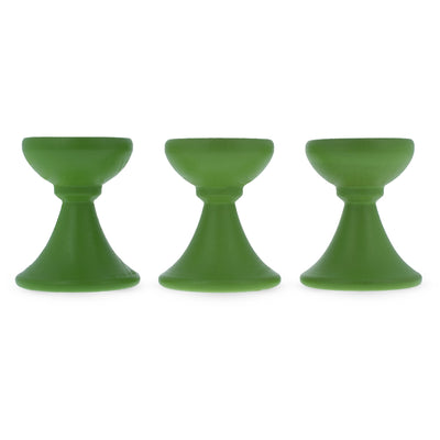 Set of 3 Lime Green Wooden Egg Stands Holders Displays 1.4 Inches by BestPysanky