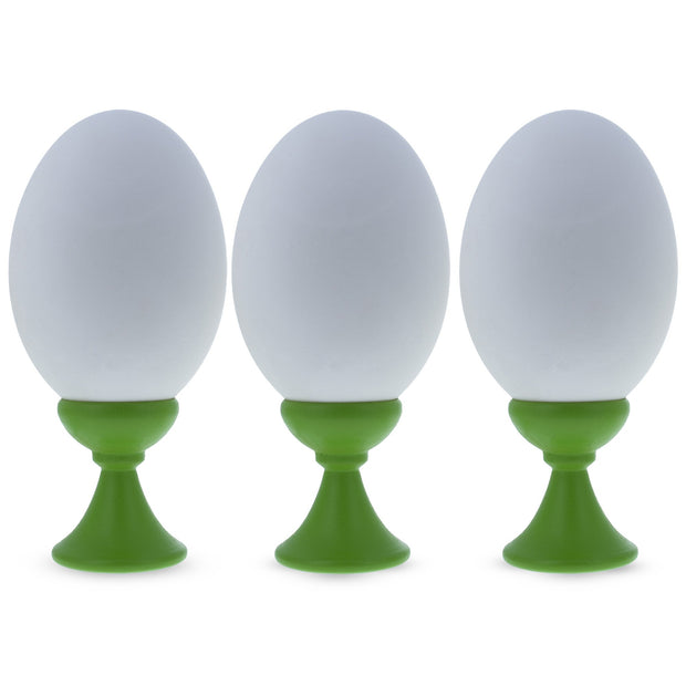 Set of 3 Lime Green Wooden Egg Stands Holders Displays 1.4 Inches