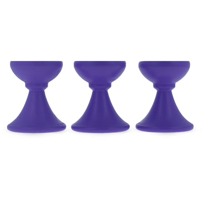 Set of 3 Purple Wooden Egg Stands Holders Displays 1.4 Inches by BestPysanky