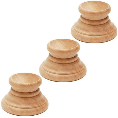 Set of 3 Unfinished Wooden Egg Stands Holders Displays 1.15 Inch Tall by BestPysanky
