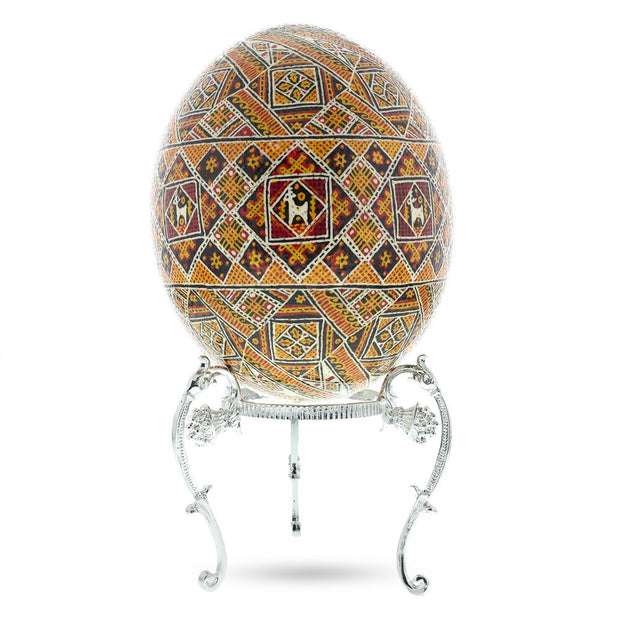 Antique Style Silver Tone Metal Ostrich Egg Stand Holder 3.6 Inches