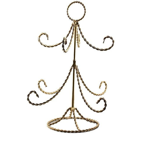 "14"" Christmas Tree Twisted Gold Tone Wire Ornament Stand 