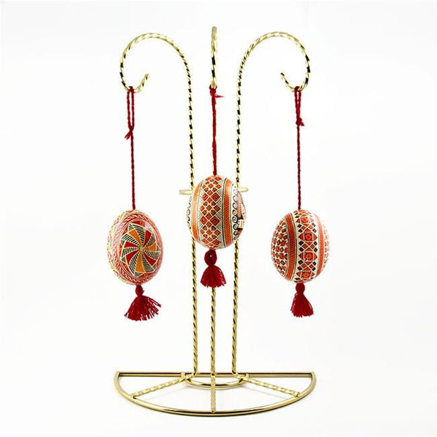 "BestPysanky Egg Decorating > Stands > Ornament Stands - 11"" Swirl Legs Gold Tone Metal 3 Ornaments Stand"
