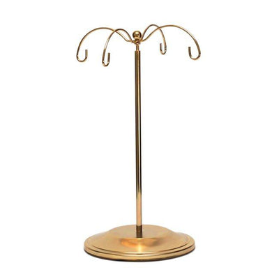 "8.5"" Tall Pole Gold Tone Metal 4 Ornaments Stand 