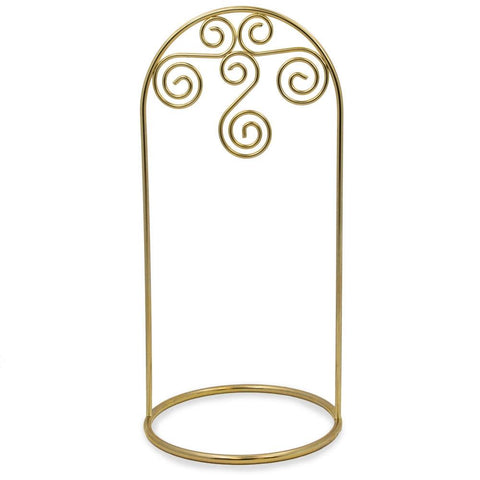 "7.75"" Arched Swirls Gold Tone Metal Ornament Stand 