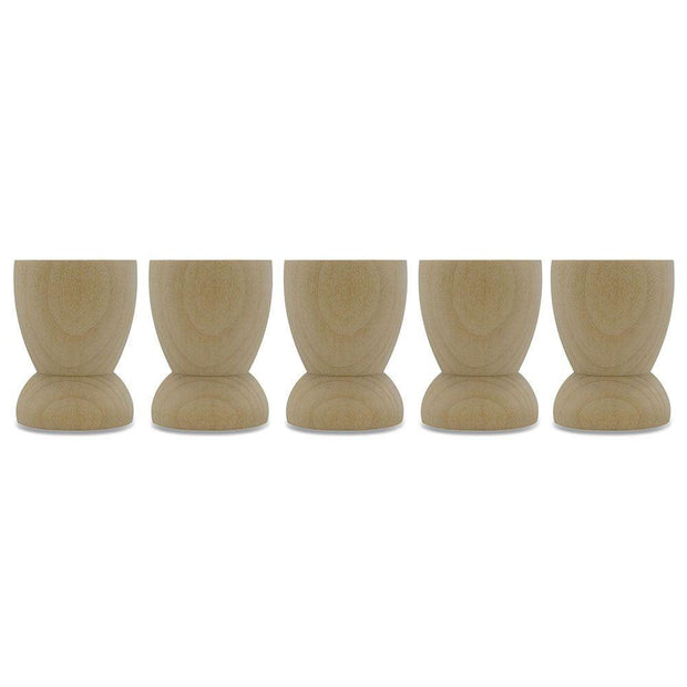 Set of 5 Classic Wooden Egg Cup Holder Display Stands 2.15 Inches by BestPysanky