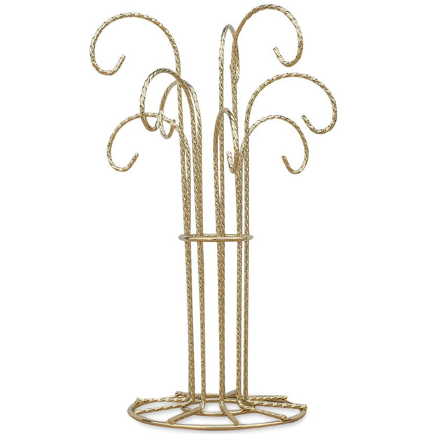 "BestPysanky Egg Decorating > Stands > Ornament Stands - 12"" 9 Arm Gold Tone Twisted Brass Metal 9 Ornaments Stand"