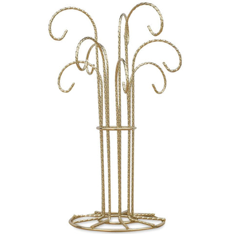 "12"" 9 Arm Gold Tone Twisted Brass Metal 9 Ornaments Stand 