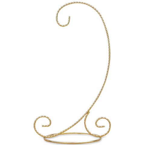 "9.5"" Curved Gold Tone Twisted Brass Metal Ornament Stand 