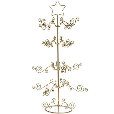 "BestPysanky Egg Decorating > Stands > Ornament Stands - 27"" 16 Arm Star Golden Brass Christmas Tree 16 Ornaments Stand"