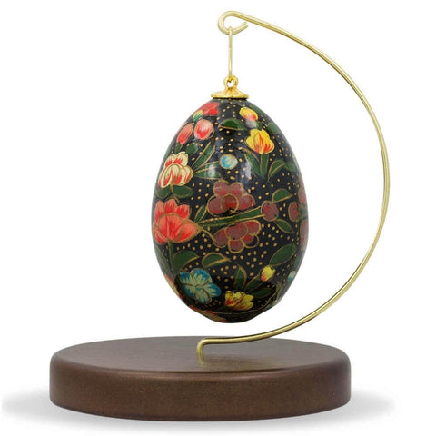 "4.5"" Brass Hook Ornament Stand Holder with Walnut Base 