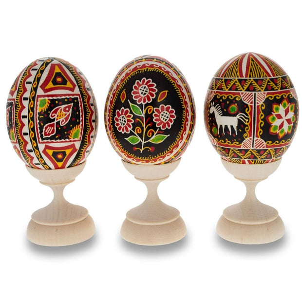 Set of 3 Unfinished Wooden Egg Stands Holders 1.5 Inches